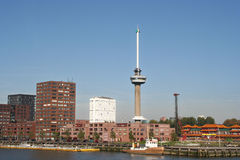 Rotterdam Euromast. Euromast in Rotterdam, with Erasmus University in the background Stock Photos