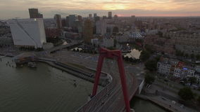 Rotterdam in the evening, aerial view