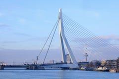 The 800 meter long iconic Erasmusbrug at daybreak, Rotterdam, Netherlands. ROTTERDAM-FEBRUARY 8, 2018. The 800 meter long Erasmus Bridge, built from light-blue Stock Images