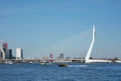 The 800 meter long iconic Erasmusbrug on a sunny day, Rotterdam, Netherlands. ROTTERDAM-FEBRUARY 13, 2018. The 800 meter long Erasmus Bridge, built from light Royalty Free Stock Photo