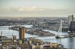 Rotterdam, fiume, isola e ponte immagini stock libere da diritti