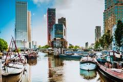 Rotterdam gammal hamn Arkivfoto