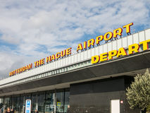 Rotterdam-The Hague Airport. Name sign on top terminal of Rotterdam-The Hague Airport in the Netherlands Royalty Free Stock Images