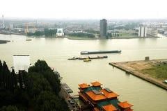 Rotterdam hamn, från TVtornet Royaltyfri Bild