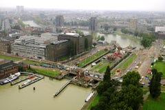 Rotterdam hamn, från TVtornet Arkivbilder