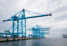 Rotterdam harbor cranes Stock Photo
