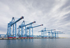 Rotterdam harbor cranes Stock Images