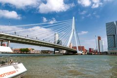 Rotterdam harbor with Erasmus bridge Royalty Free Stock Photo