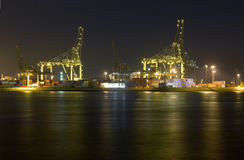 Rotterdam Harbor at Night Royalty Free Stock Image