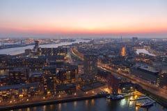 Rotterdam harbor sunset Royalty Free Stock Photography