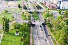ROTTERDAM, holandie - Maj 10: Pejzaż miejski od Euromast wierza w Rotterdam, holandie na Maju 10, 2015 Zdjęcia Stock