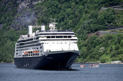 ROTTERDAM of Holland America Line in the Geirangerfjord, Norway Stock Image