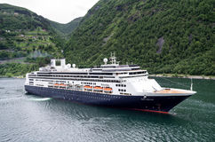 ROTTERDAM of Holland America Line at Geirangerfjord, Norway Royalty Free Stock Photo