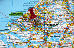 Rotterdam in Holland. Map with pin point of Rotterdam in Holland stock photography