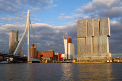 ROTTERDAM, HOLLAND Panoramic-mening over Erasmus Bridge en de haven van Rotterdam holland Stock Afbeeldingen