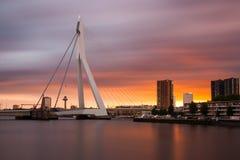Rotterdam horisont efter solnedgång Arkivbilder