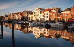 Rotterdam horisont med gamla byggnader Royaltyfria Bilder