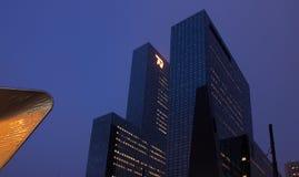 Rotterdam horisont med kontorsbyggnader Arkivbilder