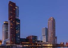 Rotterdam horisont på solnedgången Arkivbilder