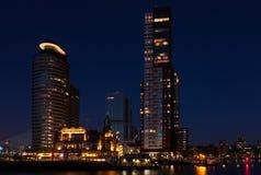 Rotterdam horisont på solnedgången Royaltyfria Bilder