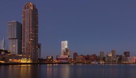 Rotterdam horisont på solnedgången Royaltyfria Foton