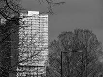 Rotterdam Kop Samochód dostawczy Zuid architektura, linia horyzontu/- czerń & biel obraz royalty free