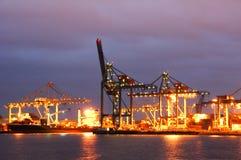 The Rotterdam Maashaven Docks. The Rotterdam harbor (Rotterdam Maashaven) docks photographed at night. The Rotterdam harbor is one of the largest in the world Royalty Free Stock Photography