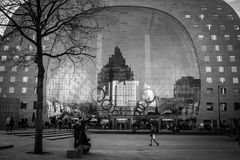 Rotterdam market hall. In black and white Royalty Free Stock Photography