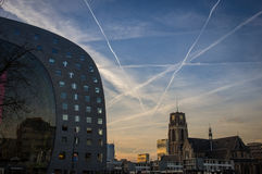 Rotterdam market hall at dusk. With contrails Stock Image