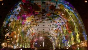Rotterdam Markthal. At night, beautifully illuminated Royalty Free Stock Photography