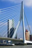 Rotterdam met Erasmus Bridge en Wolkenkrabbers royalty-vrije stock afbeeldingen