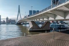 Rotterdam miasta pejzażu miejskiego linia horyzontu z Erasmus rzeką i mostem Południowy Holandia, holandie Obrazy Stock