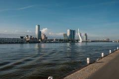 Rotterdam miasta pejzażu miejskiego linia horyzontu z Erasmus rzeką i mostem Południowy Holandia, holandie Obraz Stock