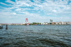 Rotterdam miasta pejzażu miejskiego linia horyzontu z Willemsbrug rzeką i mostem Południowy Holandia, holandie Obrazy Stock