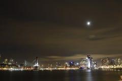 Rotterdam mit Mondschein Stockfotos