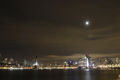 Rotterdam with moonlight Stock Photos