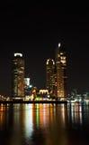 Rotterdam-Nachtansicht des Stadtzentrums lizenzfreies stockbild