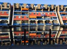 Rotterdam/Nederländerna - Juni 5, 2018: Modern arkitektur av den Rotterdam staden, Haagseveer, lägenheter arkivbilder
