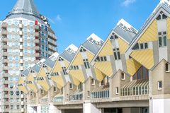 Cube houses designed Yellow Cube houses in Rotterdam under Clear Royalty Free Stock Image