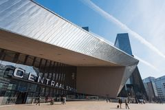 Rotterdam Centraal railway station on a sunny day. Rotterdam, Netherlands - Apr 1, 2016 : Rotterdam Centraal railway station on a sunny day Stock Photo