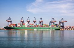 Rotterdam , Netherlands - April 20 2018 : Large harbor cranes loading container ships in the port of Rotterdam Stock Photo
