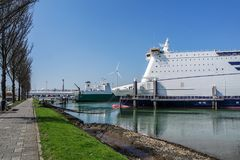 Rotterdam , Netherlands - April 19 2018 : P and O Ferry preparing to go to Hull Royalty Free Stock Images