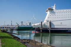 Rotterdam , Netherlands - April 19 2018 : P and O Ferry preparing to go to Hull Stock Image