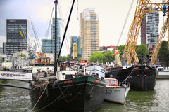 ROTTERDAM, THE NETHERLANDS - 18 AUGUST: Old cranes in Historical Royalty Free Stock Photo