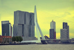 ROTTERDAM, THE NETHERLANDS - 18 AUGUST: Rotterdam is a city mode Royalty Free Stock Photo