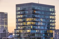 Residential tower at dusk stock image