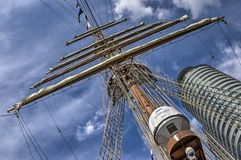 Mast and office tower stock image