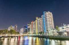 Rotterdam, Netherlands. Beautiful modern city skyline at night Royalty Free Stock Image