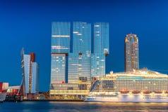 Rotterdam, Netherlands. Beautiful modern city skyline at night Stock Images