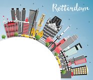 Rotterdam Netherlands City Skyline with Gray Buildings, Blue Sky. And Copy Space. Vector Illustration. Business Travel and Tourism Concept with Modern Stock Image